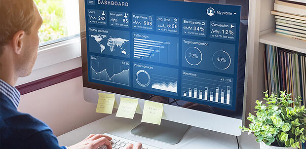 Analytics dashboard showing website traffic decline