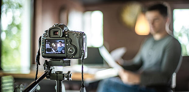 Video marketer at home during coronavirus
