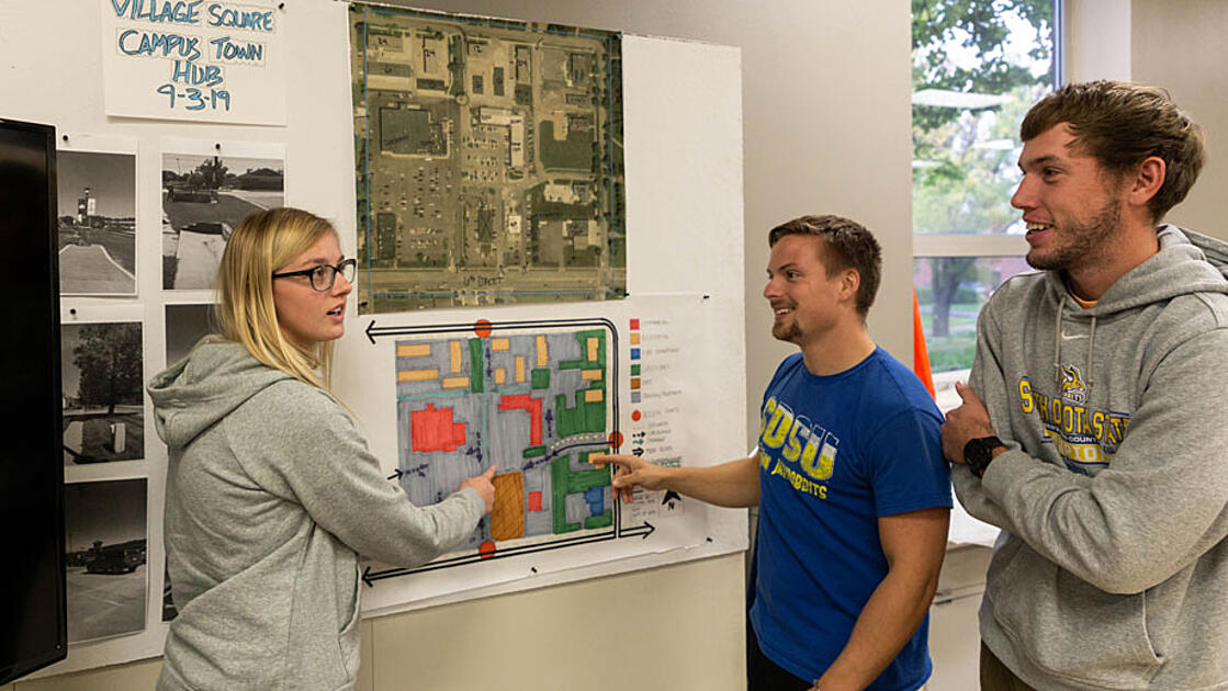 Third-year landscape architecture students discuss their Village Square designs