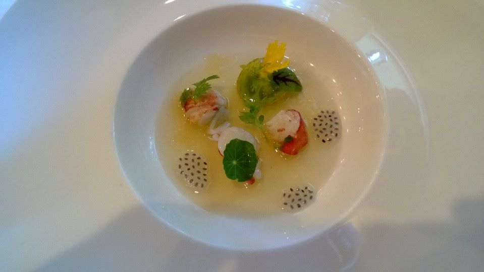 Tomato jelee with lobster salad