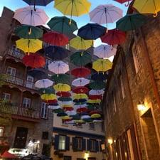 A photo of the rainbow umbrellas in Quebec City.