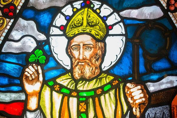 Stained Glass image of St. Patrick the patron Saint of Ireland