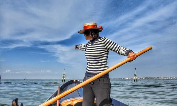 Photo of Venice's only Female Gondolier Girogia Boscola