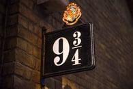 Platform 9 3/4 on the Harry Potter walking tour in London England at Warner Bros studios
