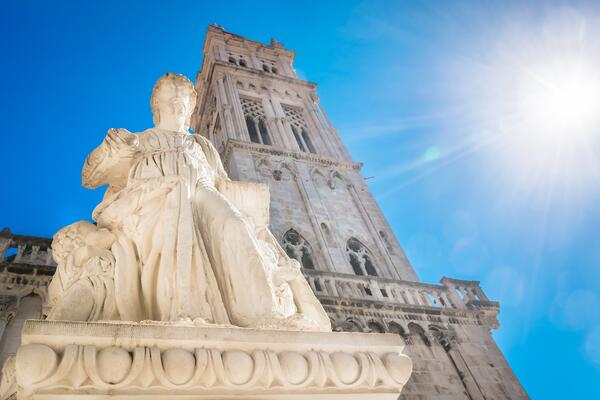 Bright blue skies and a sunny day with views of some of the architecture and art in Croatia