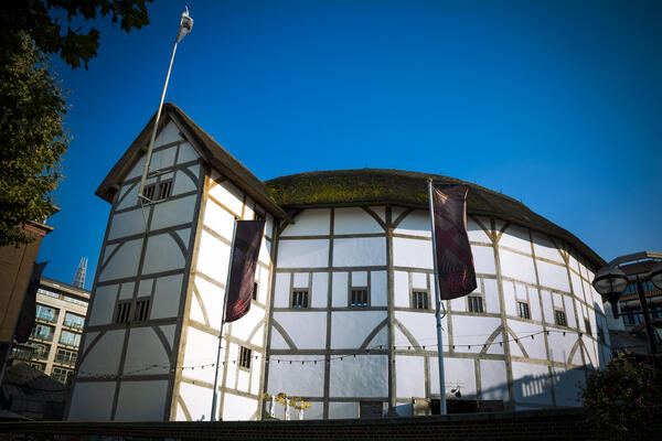 It's beautiful blue skies over Shakespeare's Globe theatre.