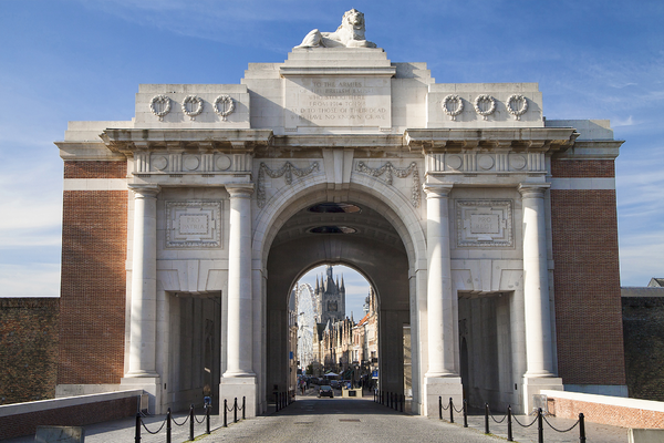 A view of the Menin Gate on a sunny day in Ypres, France.