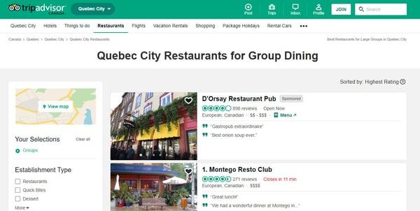 trip advisotr quebec city restaurants for group dining