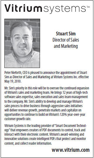 Business in Vancouver Announces Vitrium's New Director of Sales and Marketing