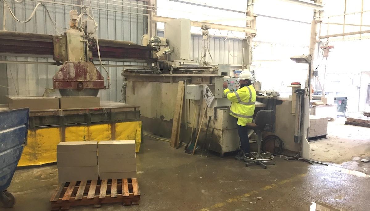 French limestone stone cutting factory at Chauvigny