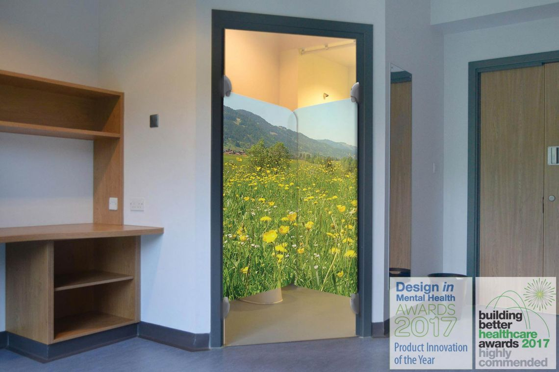 """En-suite door """"Highly Commended"""" at Building Better Healthcare awards                         LG0-meadow-300-2va---ensuite-with-bbh-award"""