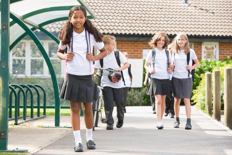 school children outside school