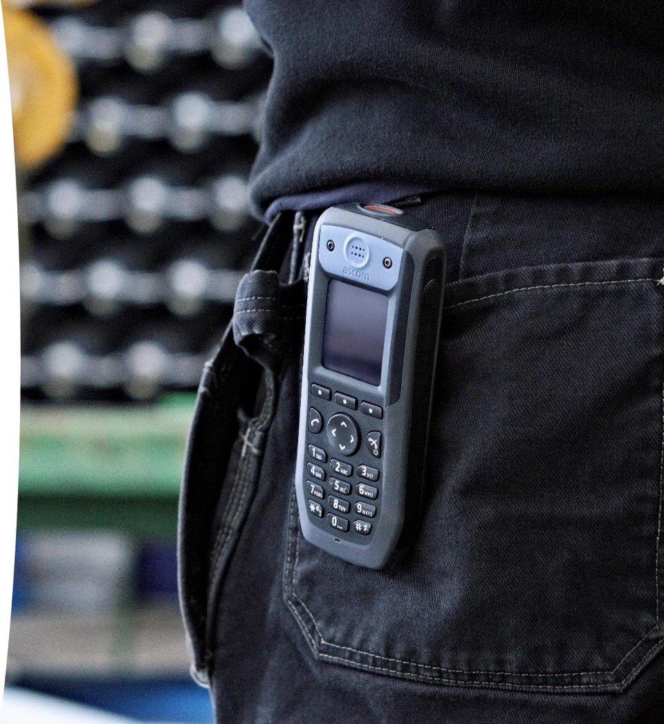 IP DECT handset on belt