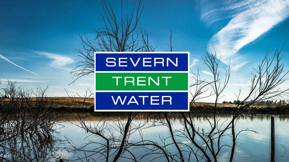 view of reservoir with severn-trent logo