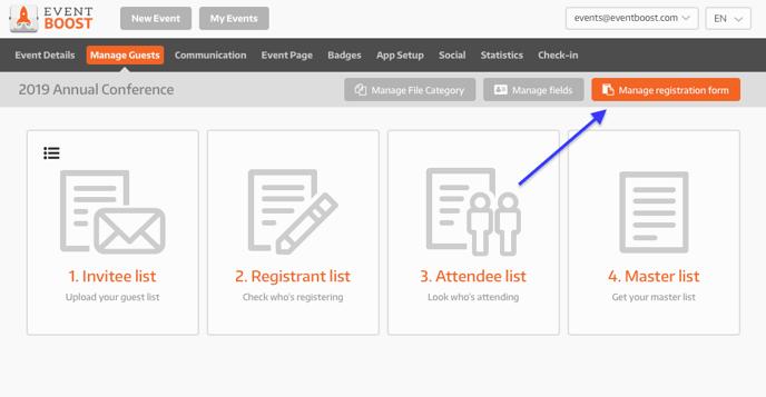 Manage registration form - Manage Guests