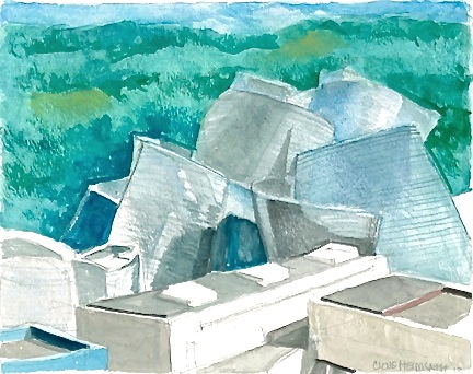 Architectural Watercolor Gugenheim Bilbao