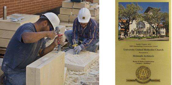 Masons prepping replacment stone at University Uited Methodist Church in Austin, TX