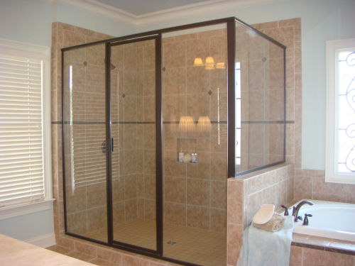 oil rubbed bronze corner double panel and door