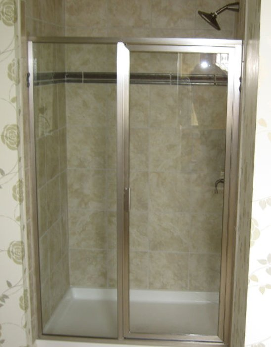 framed showers chrome inline door and panel