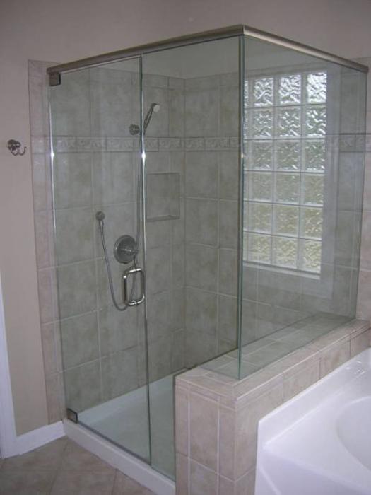 3 8 heavy glass frameless with header for Faience salle de bain tunisie