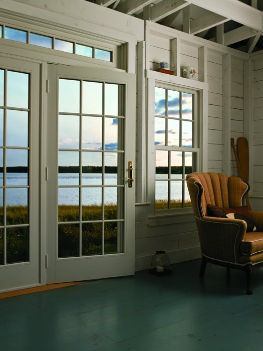A-Series Frenchwood Hinged Patio Door White Interior Colonial Grille Pattern Newbury & Andersen | Barefoot and Company
