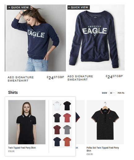 american eagle category page