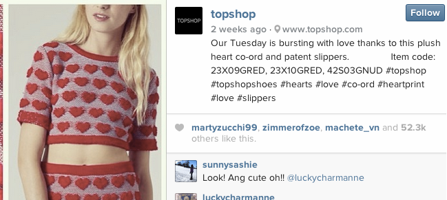 topshop shoppable instagram