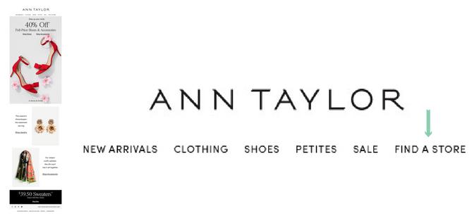 Ann Taylor email navigator bar store locator