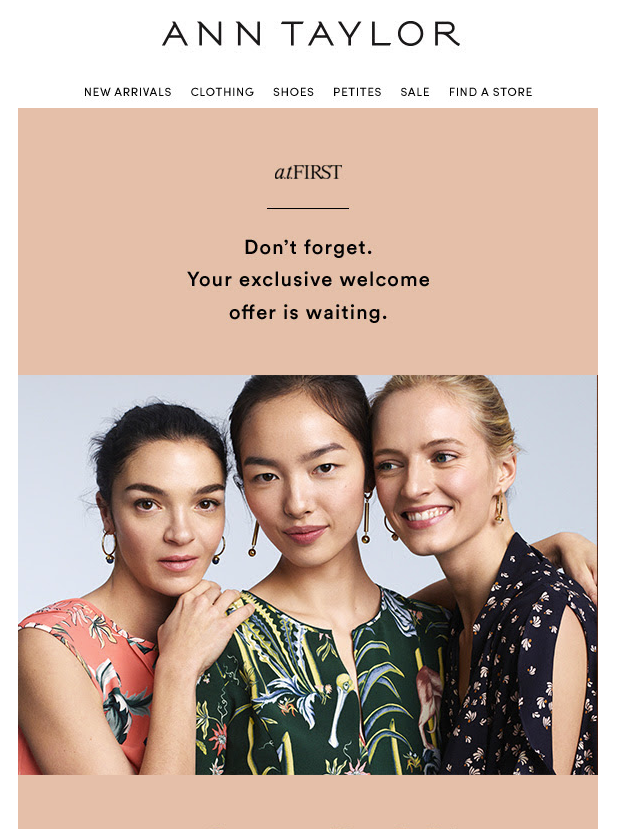 welcome email example ecommerce brand Ann Taylor 3