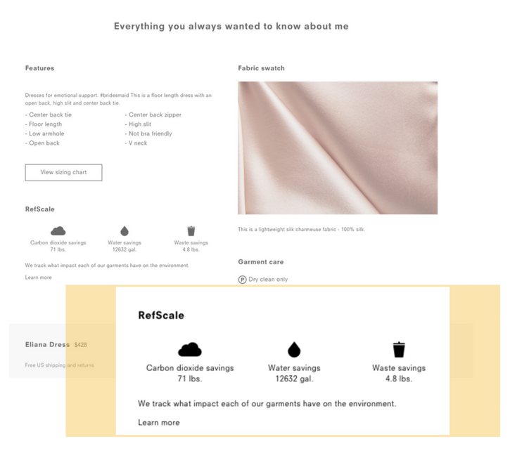 reformation product pages_eco friendly