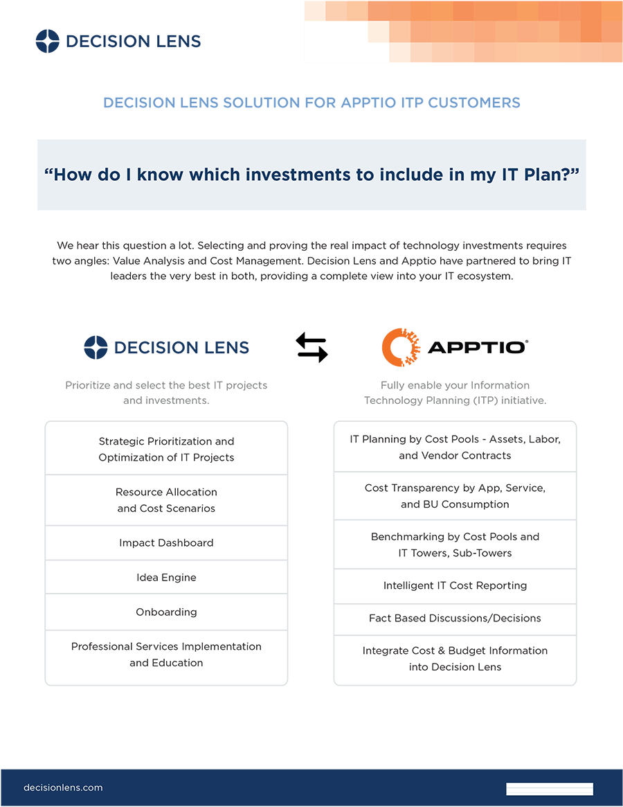 Solutions for Apptio ITP Customers