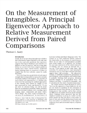 Saaty On the Measurement of Intangibles