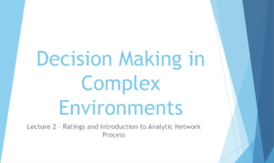 Decision Making In Complex Environments