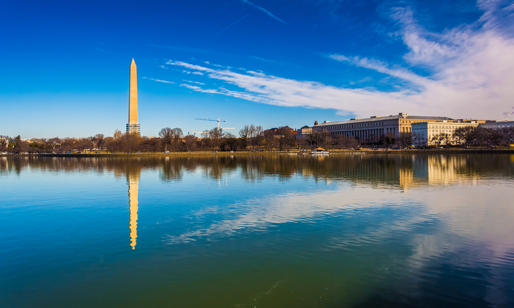 The Washington Monument reflecting in the Tidal Basin, Washington, DC.