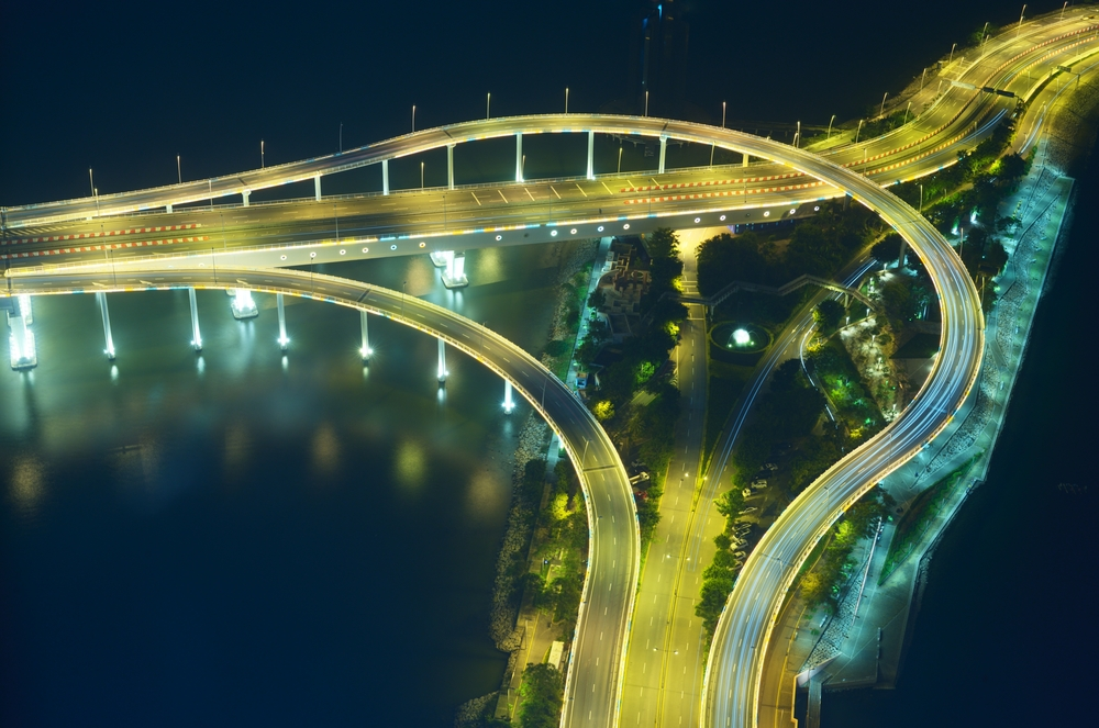 roads and ramps to a bridge in macau, china