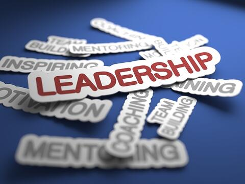 Leadership Text on Blue Background with Selective Focus. 3D Render..jpeg