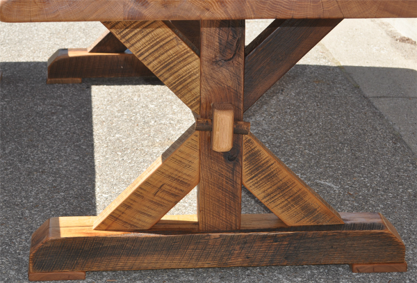 This is a closeup of the end of the base of the table just before we shipped the table.