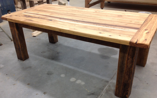 - Now Available: 7' Antique, Hickory Reclaimed Wood Table For Sale