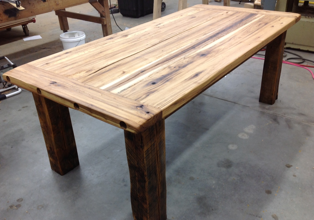 Classic farmhouse style hickory lane for Reclaimed wood table designs