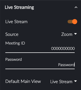 Live Streaming Settings in Glisser