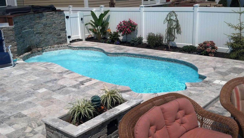 silver travertine pool deck