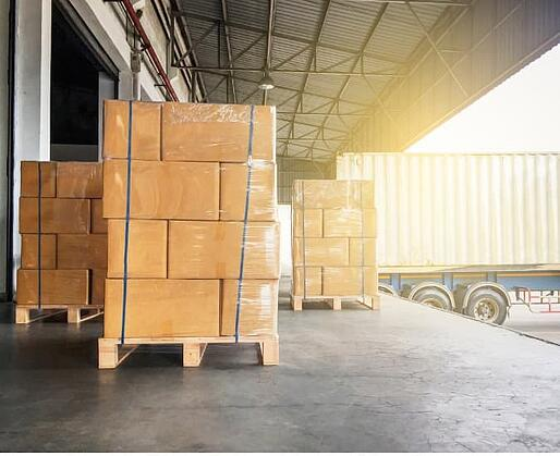 Boxes of Shipment at Warehouse Waiting to Be Loaded Onto a Truck