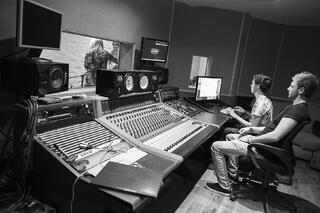 Students recording at dBs Music's commercial studio in Plymouth, Batter St Studios