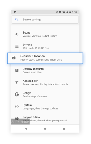 Use the Security & location tab to find out if a malicious app has gained admin access to your device.