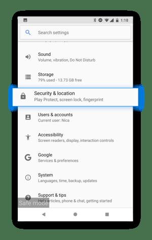 Use la pestaña Seguridad y ubicación para averiguar si una aplicación maliciosa ha obtenido acceso de administrador a su dispositivo.