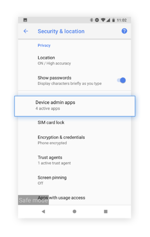 """Select """"Device admin apps"""" to see which malicious apps may have access to your device."""