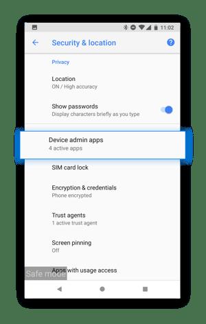 Seleccione «Aplicaciones de administración del dispositivo» para ver qué aplicaciones maliciosas pueden tener acceso a su dispositivo.