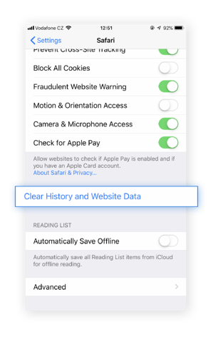 Clear your history and website data to get rid of annoying pop-ups or error messages.