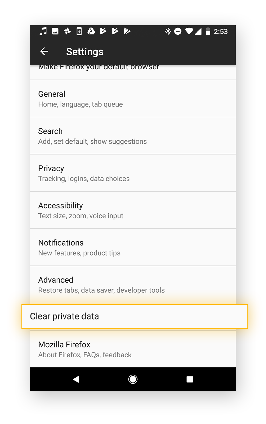 "The ""clear private data"" tab will help you clear all your personal data."
