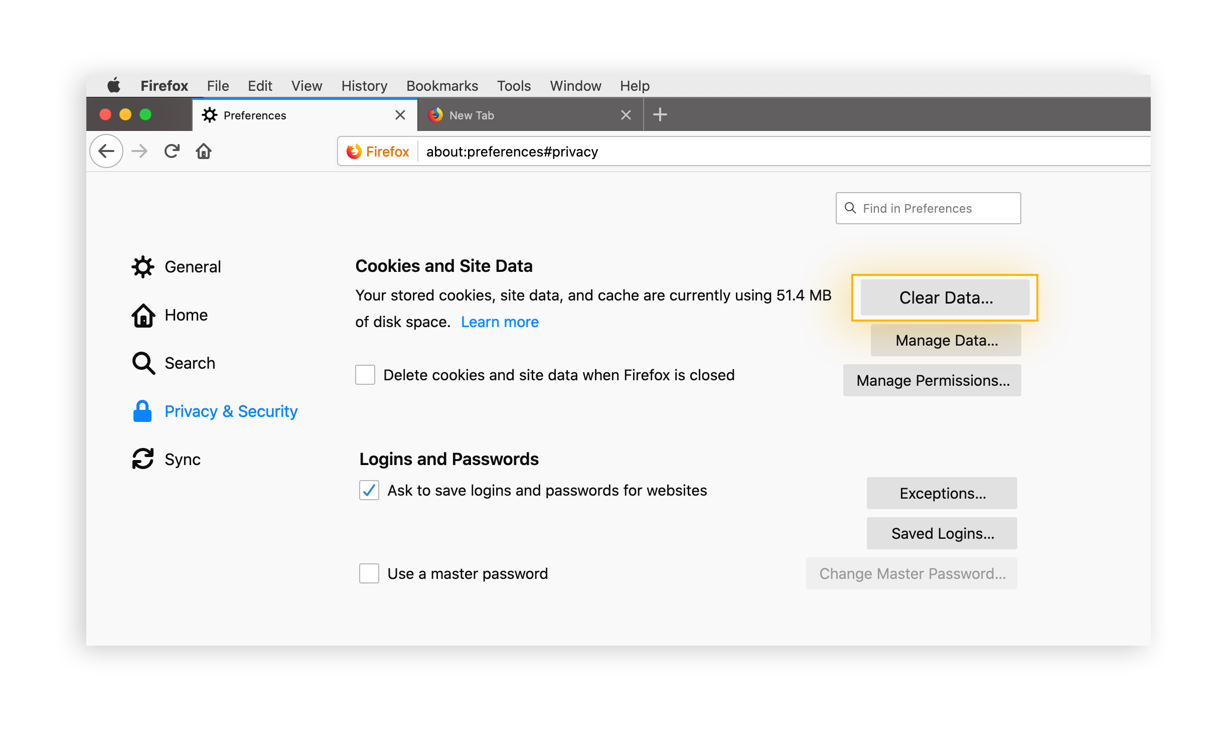 "Go into ""Privacy & Security"" to access your cookie preferences."